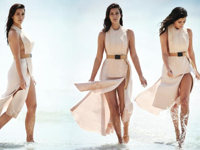 Kim Kardashian on location at Jervis Bay with Vogue. Gilles Bensimon/Vogue Australia