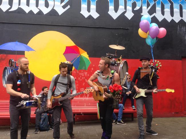 Chris Martin and Coldplay hit Newtown. Picture: Brad Hunter