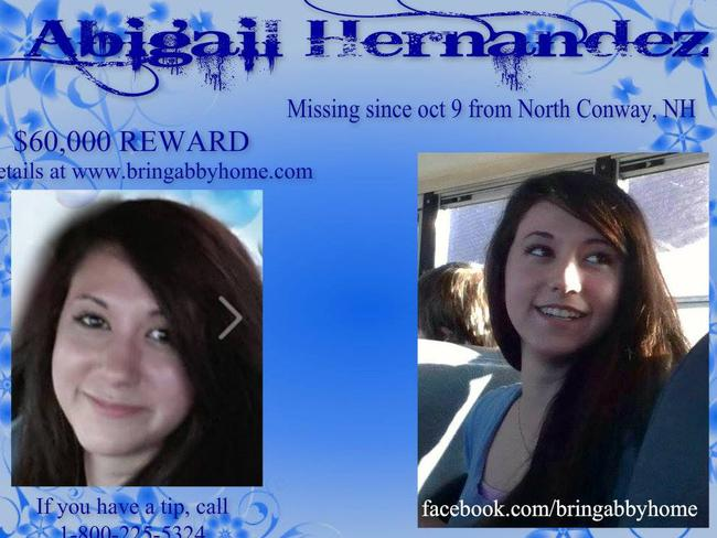 Wanted poster ... Abigail Hernandez, then 14, went missing after leaving school in October last year. Picture: Facebook