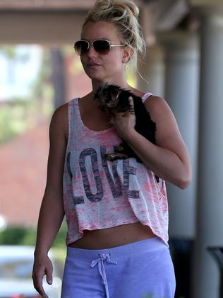 Britney with her puppy.