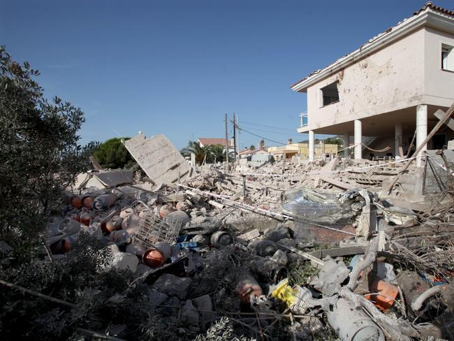 General view of the debris of a house after it collapsed last night due to a gas leak explosion in the village of Alcanar, Catalonia, northeastern Spain. Picture: EPA