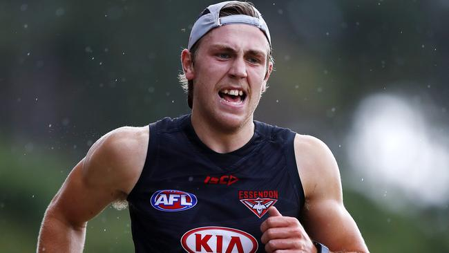 Josh Begley powered through Essendon's 2km time trial. Picture: Michael Klein