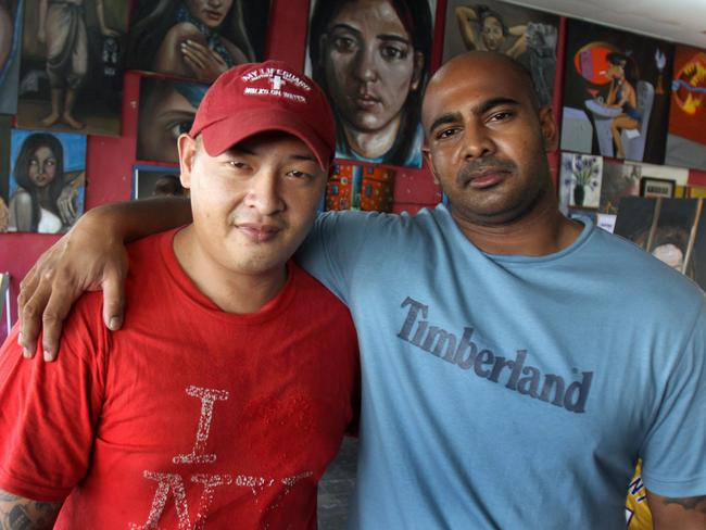 Andrew Chan, now 31, and Myuran Sukumaran, now 33, inside the workshop of Kerobokan jail in Bali.