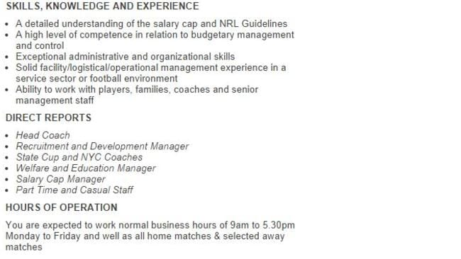 Part of the job ad on Seek shows who the general manager of football will oversee.