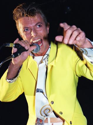 1991 ... David Bowie performing on stage in Paris. Picture: AFP