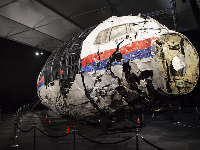 A reconstructed section of the Malaysia Airlines plane that was downed by a missile over Ukraine, killing 298 people at the Gilze-Rijen air force Base, the Netherlands. Picture: AAP