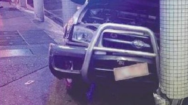 The 4WD after crashing into a pillar on Knuckey St, Darwin. Picture: Supplied