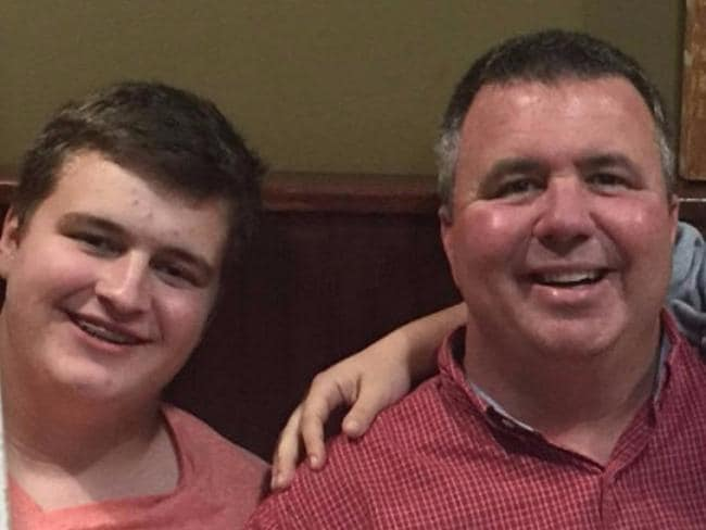 Sam Strahan (left) was killed in a school shooting three months after his dad Scott Strahan (right) died in a tragic accident. Picture: gofundme.com