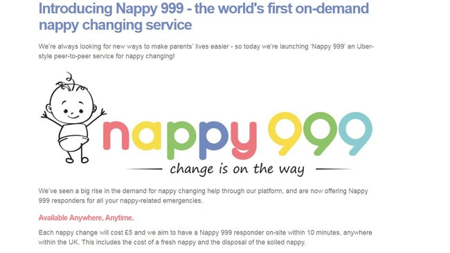 Nappy 999 is a world-first service and will cost $9 per nappy change.