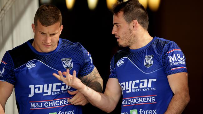 Trent Hodkinson and Josh Reynolds during warm up for their training session at Belmore Oval.
