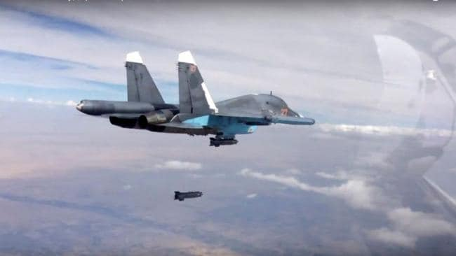 Air power ... The Su-34, seen here dropping a bomb over Syria, is one of Russia's most modern multi-role combat aircraft.