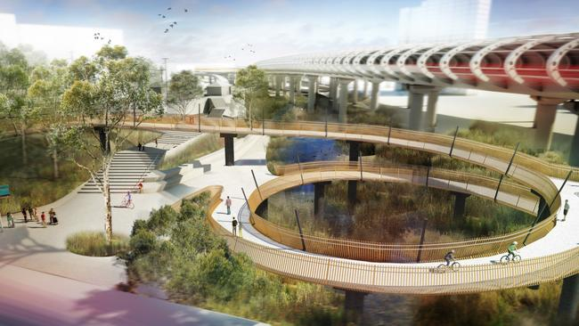 Artist impressions, including many trees, of East West Link crossing Flemington in Melbourne.