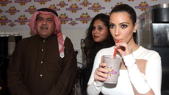 Kim Kardashain opens the Millions of Milkshakes store. Picture: AFP