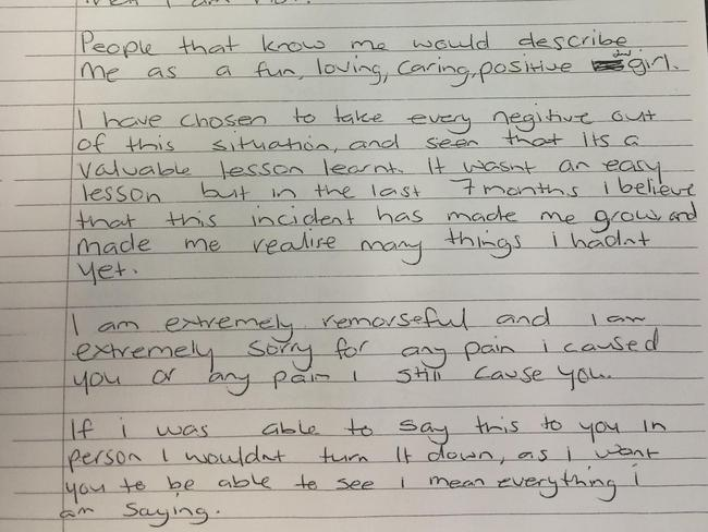 Bus attack girl Larna Watmough writes apology letter to pensioner