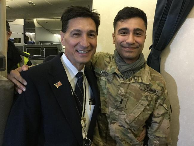 The smiling dad and son team. Picture: United Airlines IAD 777 Captain Mario Lopes