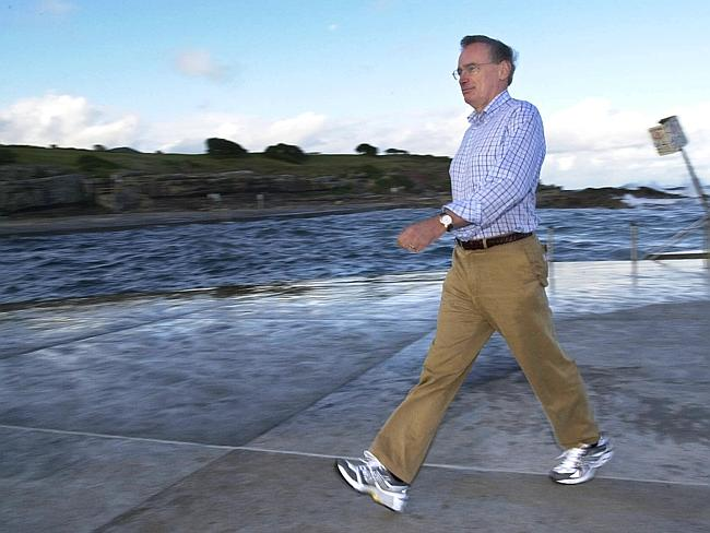 Action man ... Bob Carr promoting good health and staying fit walking by the ocean at Clovelly while he was Premier.