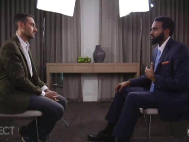 Ex-Collingwood AFL player Heritier Lumumba held back tears on The Project describing the tag he carried around at the club. Picture: The Project/Channel 10