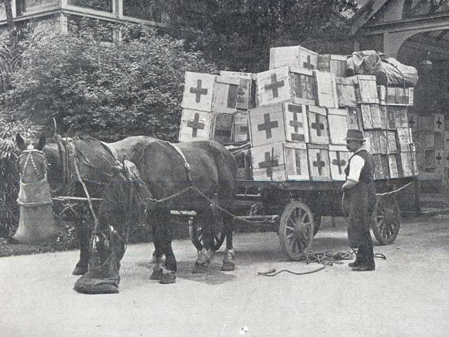 Cases at Federal Government House ready for shipment to England. Picture: Australian Red Cross The Australasian