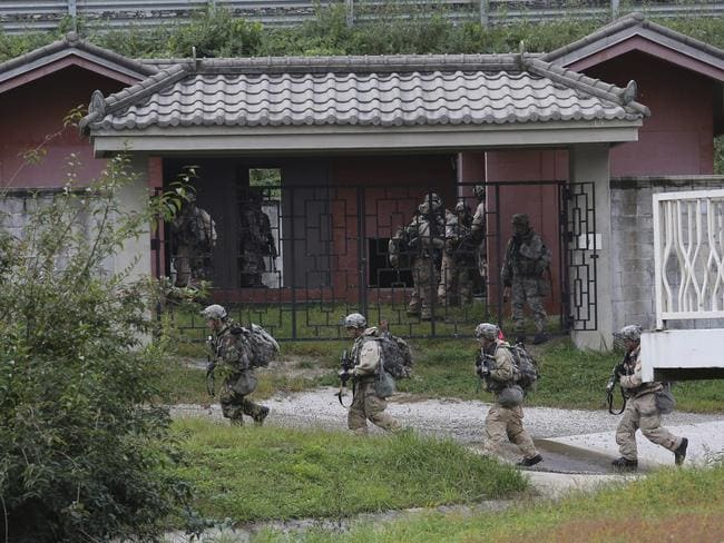 US Army soldiers move during a joint military exercise between the US and South Korea. Picture: AP