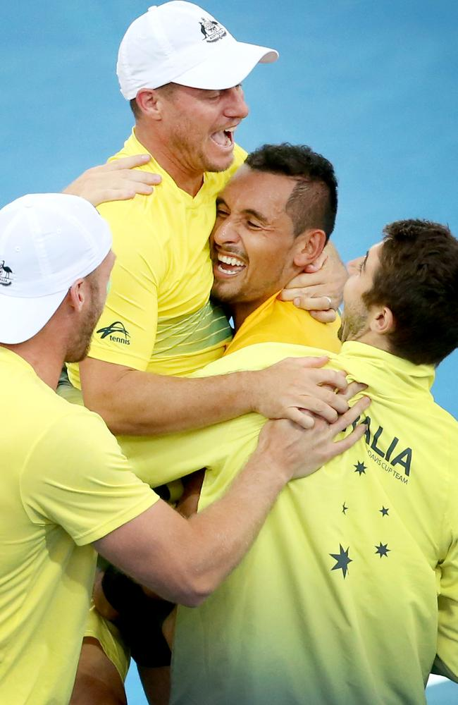 Colour and action at the Davis Cup Tie between Australia and the USA. Picture: Jono Searle.
