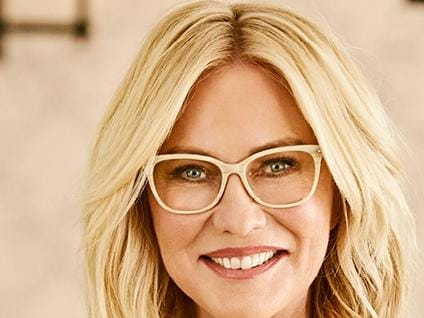 Kerri-Anne Kennerley wearing Specsavers. Kerri-Anne is working with Specavers to raise awareness about eye health. Picture: Specsavers. (Must credit)