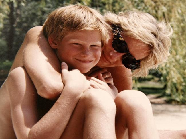 Prince Harry released this image of him and his mother, taken from Diana's personal photo album. Picture: AFP