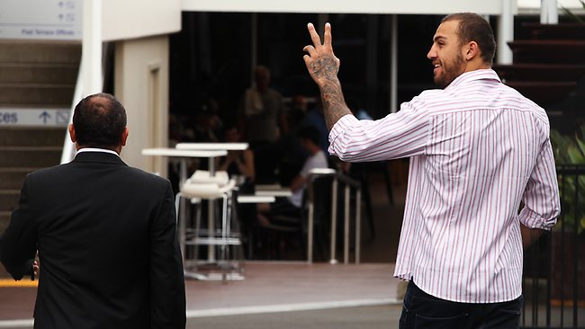 Sacked Canberra star Blake Ferguson and agent Sam Ayoub before meeting with NRL bosses at Rugby League Central in Moore Park. Picture: Brett Costello