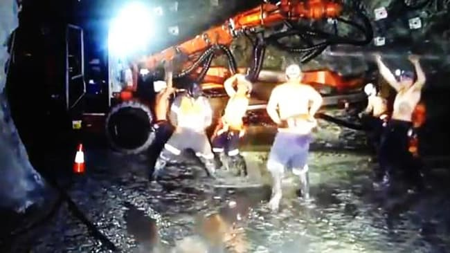 WA miners performing the Harlem Shake. Picture: YouTube