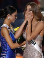 Miss Colombia Ariadna Gutierrez reacts as the announcer incorrectly names her the new Miss Universe next to Miss Philippines Pia Alonzo Wurtzbach, at the Miss Universe Pageant. Picture: AP