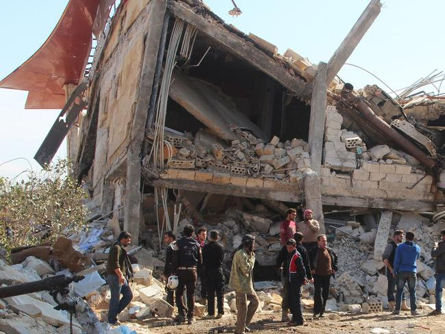 Destroyed ... a makeshift hospital supported by Doctors Without Borders has been bombed near Maaret al-Numan, in Syria's northern province of Idlib. Picture: AFP/Al-Maarra Today/Ghaith Omran