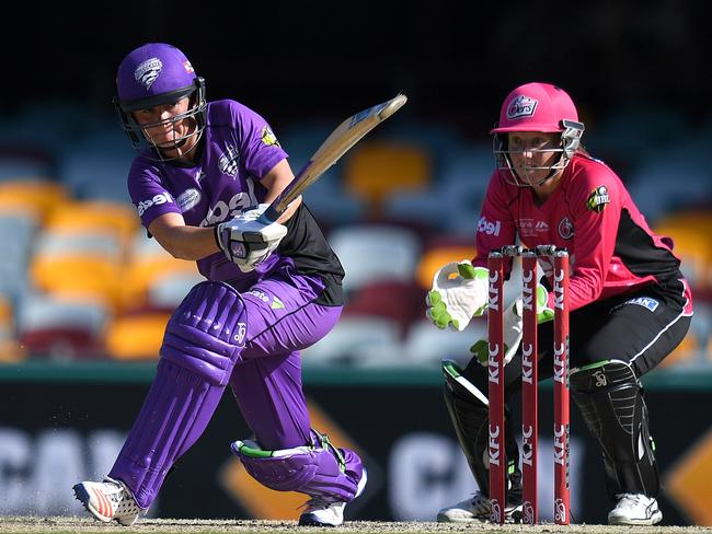 Hurricanes player Corrine Hall plays a shot during the WBBL semi-final against the Sydney Sixers.