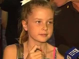Chloe-May Kabealo speaks to media at a fundraiser at Tweed Heads. Picture: Channel 7