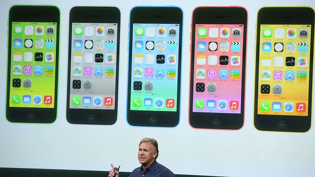 Apple Senior Vice President of Marketing at Phil Schiller speaks about the new iPhone 5C during an Apple product announcement at the Apple campus in Cupertino, California. Picture Getty