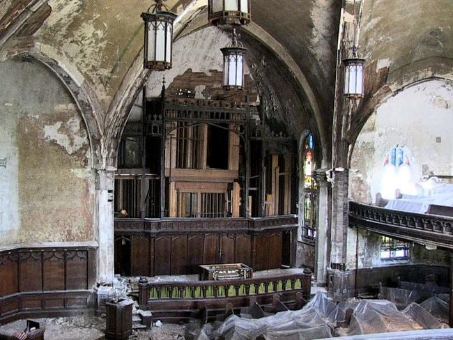 Years on, the Unplanned America crew found this Detroit church lay in tatters. The scourge of arson has haunted the motor city. Picture: Unplanned America