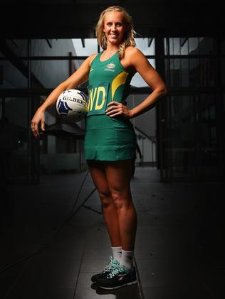 Renae Hallinan in Australia's netball uniform. Picture: Getty Images