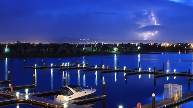 Jason Nolan's early morning image of a lightning flash taken from Hart Road looking out over the Old Port Reach.