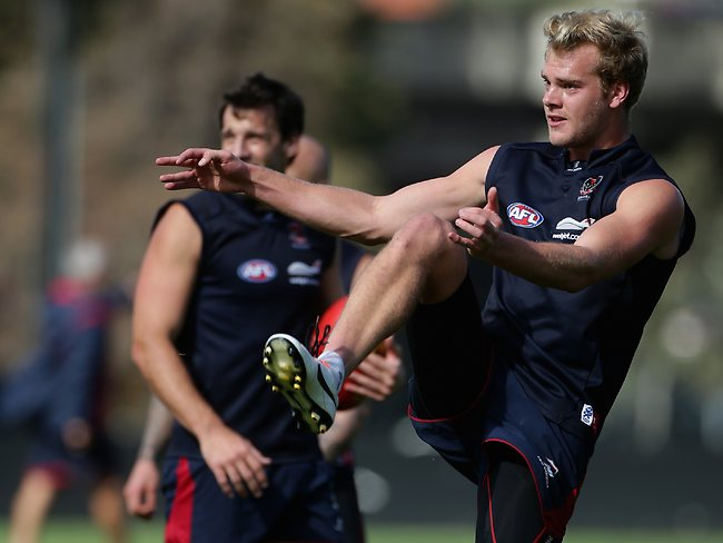 Jack Watts of the Demons kicks for goal during the Melbourne Football Club's AFL training session at Gosch's Paddock in Richmond, Melbourne, on Saturday 20th April, 2013. Picture: Dadswell Mark