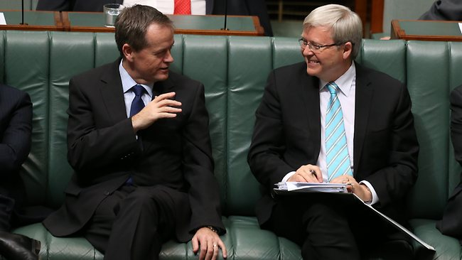 Bill Shorten and Kevin Rudd share a joke during Parliament. Mr Shorten's switch from backing Julia Gillard to Rudd was crucial in the leadership spill. Picture: Kym Smith