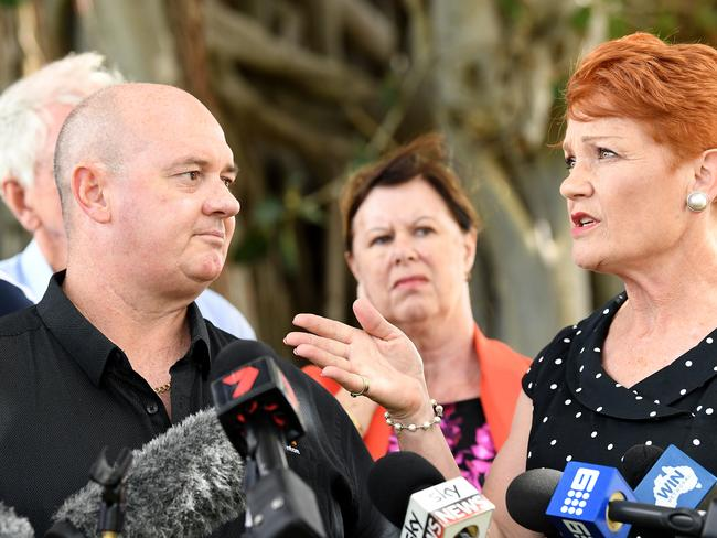 One Nation leader Pauline Hanson with One Nation candidate and adult store owner Mark Thornton. Picture: AAP Image/Dave Hunt