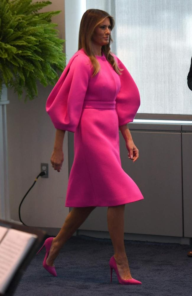 First lady Melania Trump arrives to address a luncheon at the US Mission to the United Nations in New York. Picture: AFP PHOTO / DON EMMERT