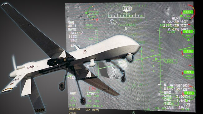 Eye in the sky: A console screen giving an idea of what drone operators see of their targets while sitting thousands of kilometres away from the combat zone. Inset, a Predator drone aircraft.