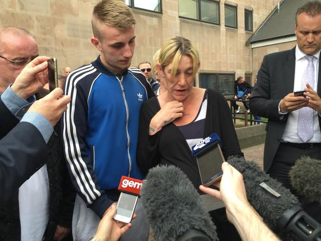 Kayleigh Haywood's mother Stephanie, with son Kyle, reads out a family statement outside Nottingham Crown Court. Picture: Matthew Cooper/PA