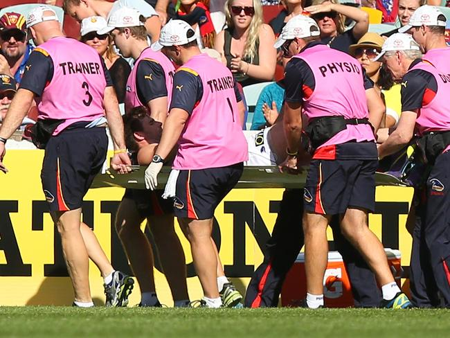Adelaide's Andy Otten suffered another serious knee injury against Brisbane.