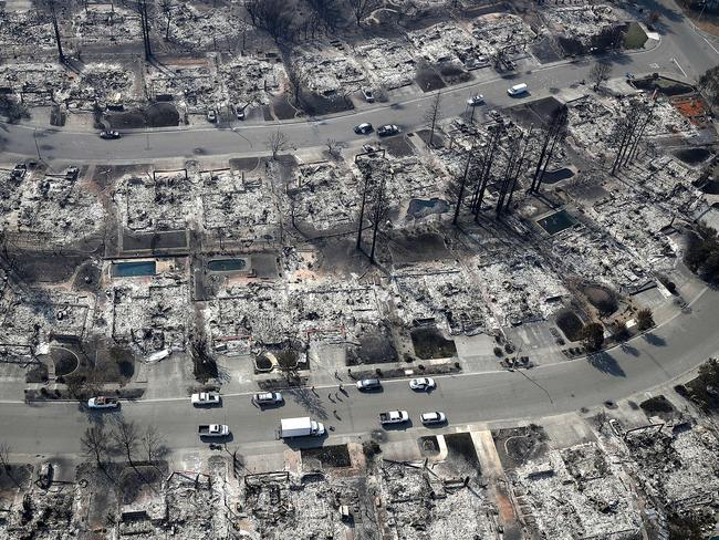 An aerial view of homes that were destroyed by the Tubbs Fire on October 11, 2017 in Santa Rosa, California. Picture: Justin Sullivan/Getty