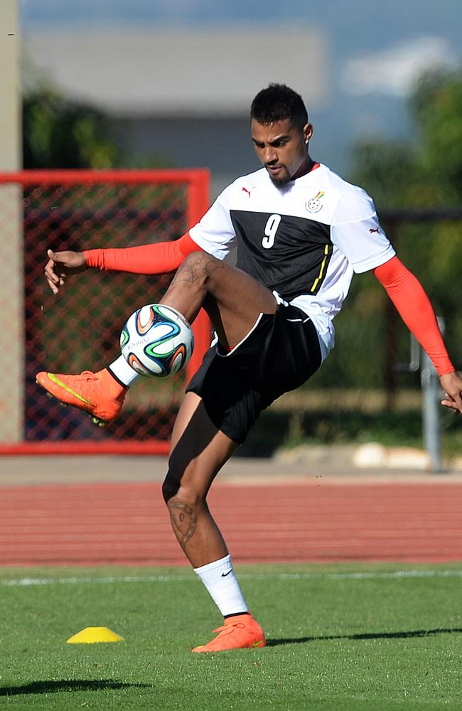 Ghana's Kevin Prince Boateng juggles the ball during a training session earlier this week.