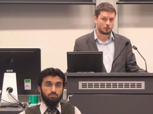 Labor candidate for Farrer Christian Kunde, right, appears in a video of a moderated debate on the belief in God held at the Australian National University in 2012 alongside Uthman Badar, official spokesman for Hizb ut-Tahir.