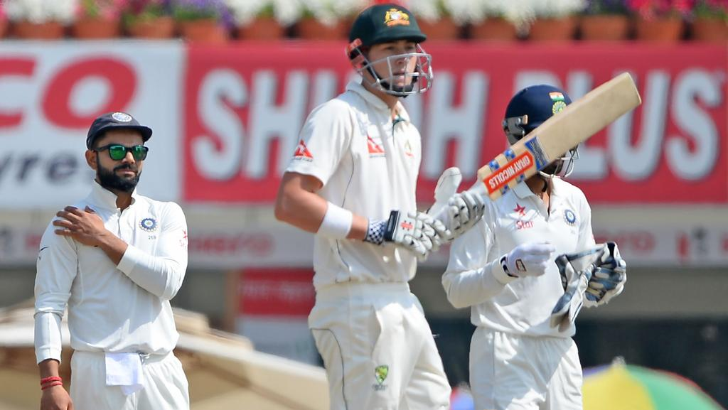 Matt Renshaw in action during Australia's second innings at Ranchi.
