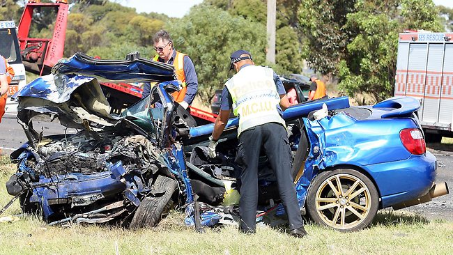 The Subaru in which four young people were killed. Picture: Norm Oorloff