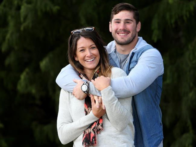 Nathan Charles with girlfriend Verity Simmons, a netballer for the Queensland Firebirds who suffers from diabetes.