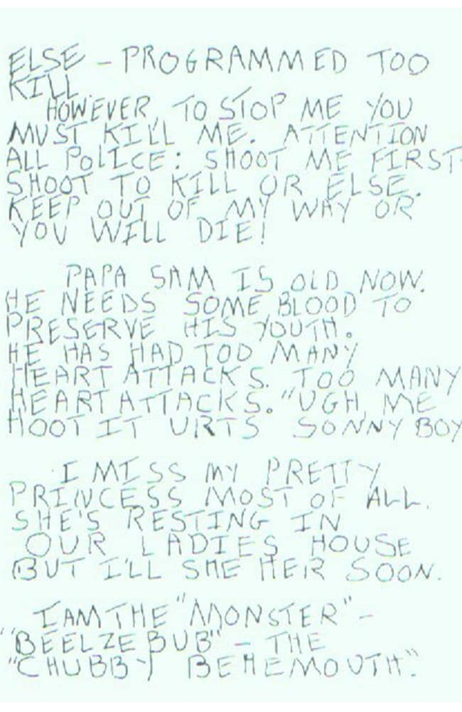 Son of Sam letters. Picture: Supplied